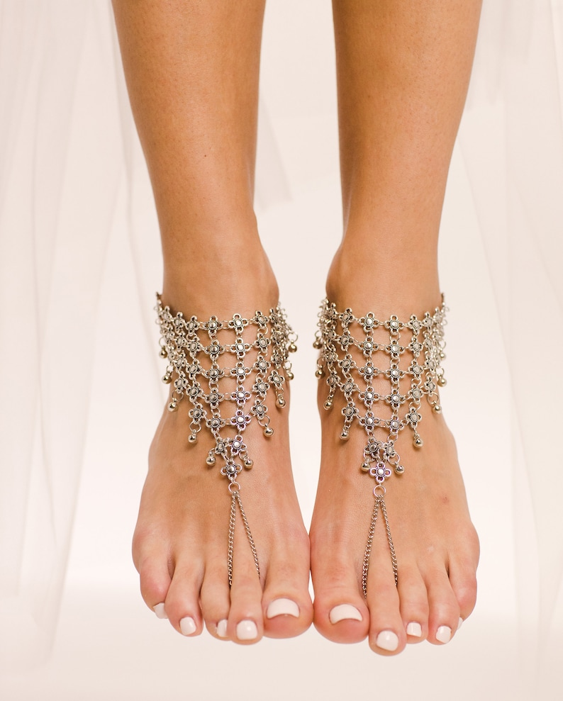 a8860943b298d4 Boho Barefoot Sandals Beach wedding Shoes Silver Bohemian Jewelry Slave  Anklet Foot Thong Beach Sandals Barefoot Bride Bohemian Bride