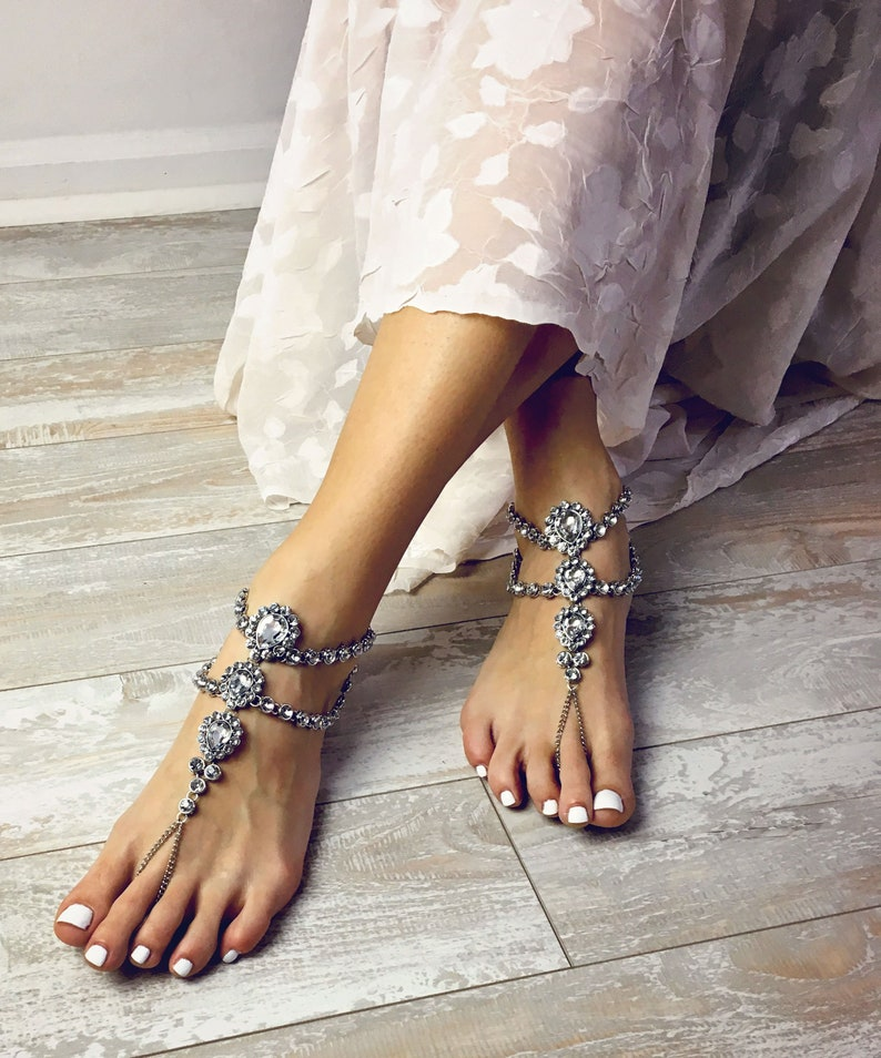 0768e1fed Rhinestone sandals Barefoot Sandals Beach Shoes Beach Anklet