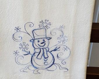 Light Blue embroidered flour sack towel, Christmas, Snowman, dish towel, machine embroidered cotton kitchen towel, decorative towel 2