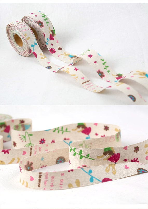 40mm ** Limited Stock ** no reel BUNNY /& FLOWERS Jute linen /'style/' ribbon