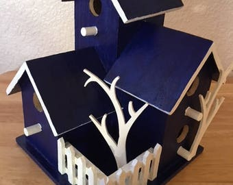 TRIPLE CONDO BIRDHOUSE - Dark blue with white accents - Home decoration/gift