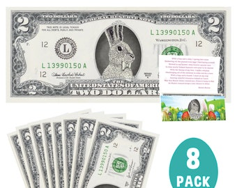 The Official Easter Bunny Dollar Bill 8-Pack. Real 2.0 USD Dollars. Each Bill Comes with an Easter Card. Easter Basket Stuffer/Filler