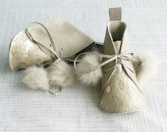 ELLA | White gold, champagne leather, pony leather, handmade baby booties, soft soled crib shoes