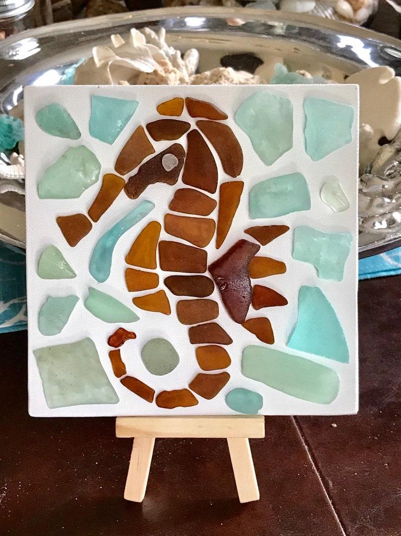 coastal farmhouse mosaic art nautical art Sea glass sea horse on canvas with easel beach cottage coastal decor sea dragon