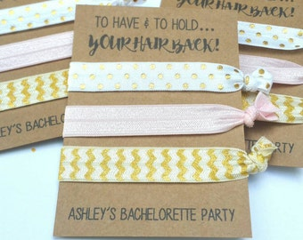 Bachelorette Party Favors, Hair Tie Favors, Bachelorette Favor, Bridesmaid Favor- To Have and To Hold- Knot Hair Tie Favor,You Choose Colors