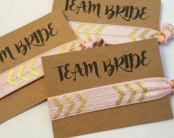 Bachelorette Favor, Hair Tie Favor, Bachelorette Party Favor, Elastic Hair Tie, Bridesmaid Favor, TEAM BRIDE, You Choose Color!