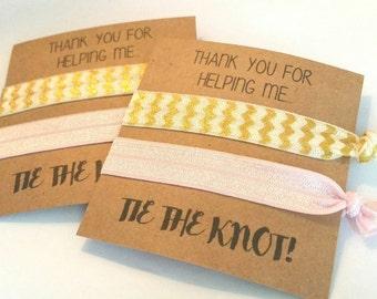 Elastic Hair Tie, Hair Tie Bracelet, Hair Tie Favors, Bachelorette Hair Tie Favors, Shower Favor, THANK YOU, You Choose Colors!
