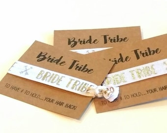 BRIDE TRIBE - Bachelorette Favor, Hair Tie Favor, Bachelorette Party Favor, Elastic Hair Tie, Bridesmaid Favor, Wedding Favor