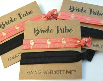 Elastic Hair Tie, Hair Tie Favors, Bachelorette Favor, Bridesmaid Favor - BRIDE TRIBE - Hair Tie Favor, You Choose Colors!