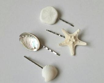 Shell Hair Accessories, Starfish Hair Accessories, Shell Hair Clips - 4 PC Mermaid Hair Pins
