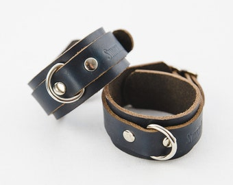 Switch Leather Co. Set of two wrist cuffs - Black