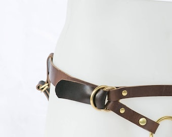 Handmade Leather Strap On Harness - The Camryn in Oak