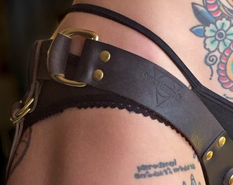 Handmade Leather Strap On Harness - The Ramona Harness in LIMITED EDITION Black & Brass (Size Small)