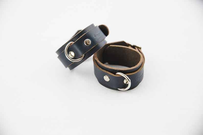 Switch Leather Co. Set of two wrist cuffs  Black image 0