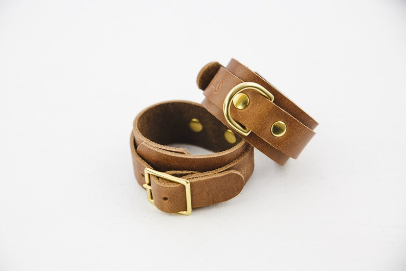 Switch Leather Co. Set of two wrist cuffs in Oak image 0