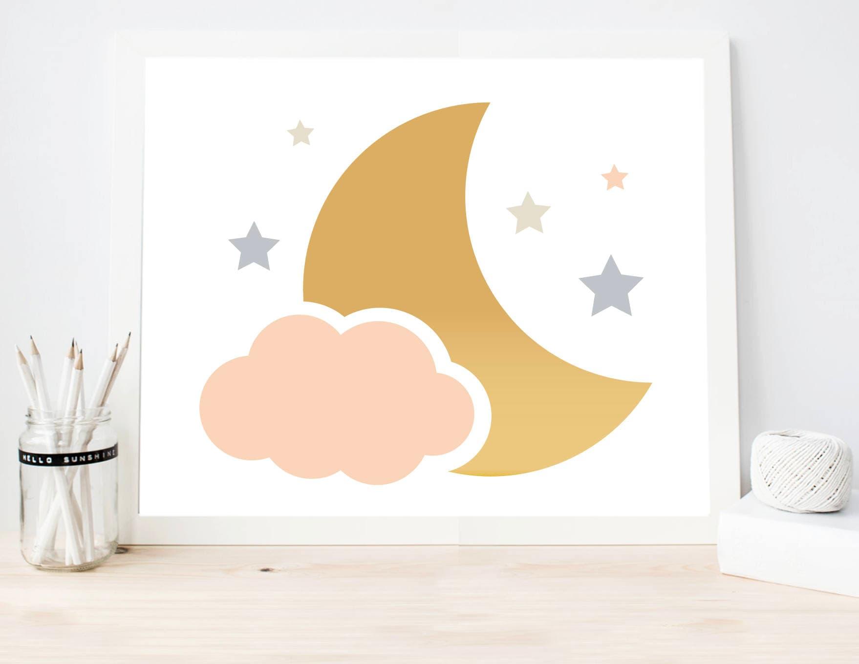 Gold Star Wall Decor: Moon Stars And Cloud Art Print Baby Gold Wall Art Modern