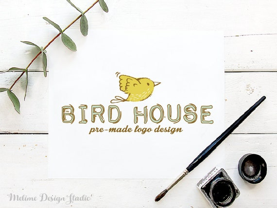 Logo Design Pre Made Bird Logo Design Hand Draw Logo Etsy