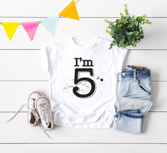 5th Birthday Tees Kids Cool T Shirts Design Toddler Short
