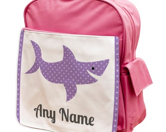 f8c787d7022 Personalised Shark Pink Rucksack Backpack - school girls kids personalised  back to school holidays vacations
