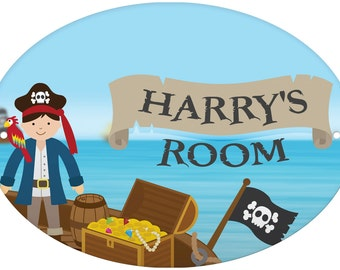 Personalised Pirates Door Plaque treasure gift idea kids birthday xmas