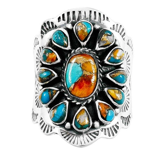 925 SOLID SILVER NATURAL ARIZONA TURQUOISE WOMEN GIFTS MOM HANDMADE FINE RING