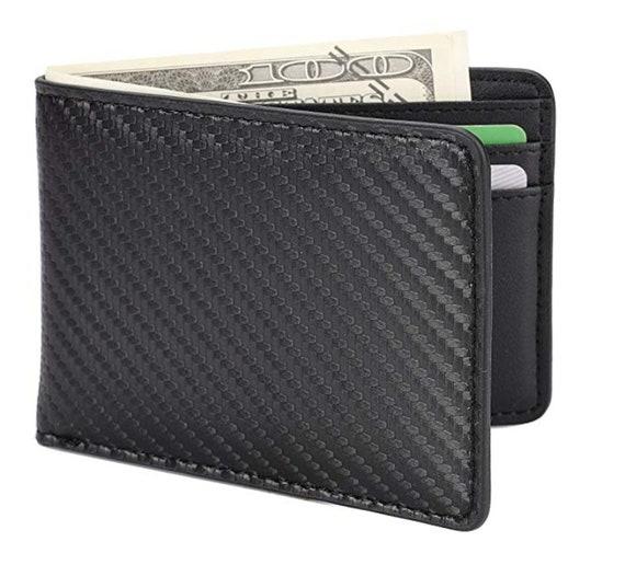 Funda delgada de tarjeta de crédito de Cuero Real-Bolsillo Frontal Billetera Dinero Clip-Rfid