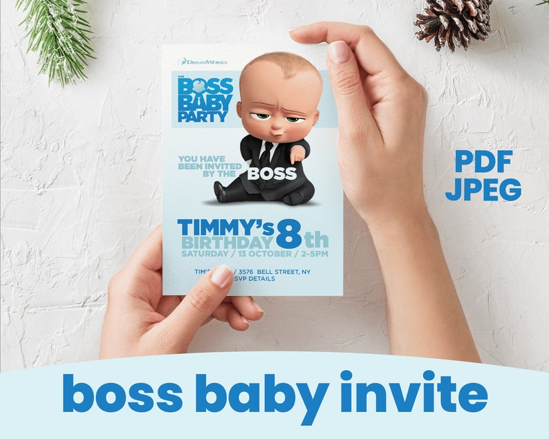 Instant Download Boss Baby Birthday Party Invitation Pdf Jpeg Party Invite Movie Party