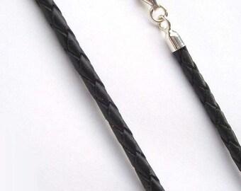 47 cm Leder Lederkette Lederband Rindsleder Kette 2 mm schwarz mit Karabiner