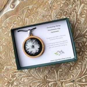 White Flower Necklace Australia Handmade in Tasmania Adjustable Length Cord Daisy Pendant