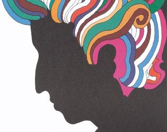 "Milton Glaser - Bob Dylan Original Portrait Poster, RARE 1967 Limited Offset Lithograph 33"" X 22"""