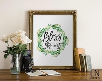 Instant 'Bless this nest' Printable Art 8x10 Art Digital file Home Decor Art Digital Print