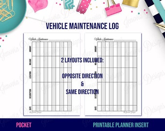 pocket vehicle maintenance log printable budget insert refill page for pocket size disc or ring bound planners instant download