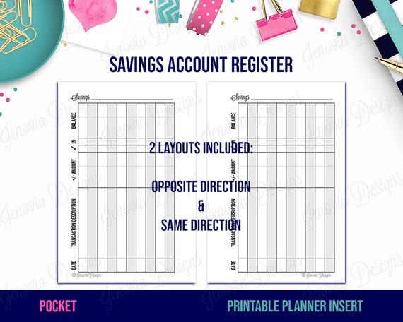 pocket savings account register printable budget insert etsy