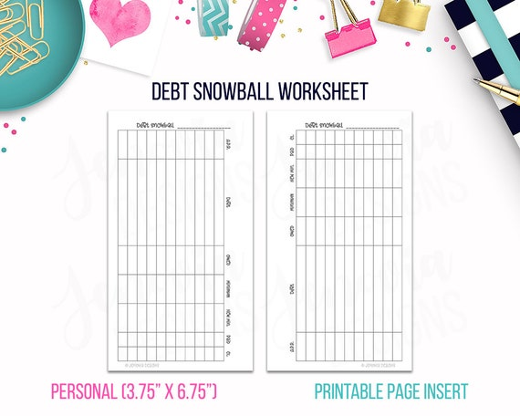 photo about Free Printable Debt Snowball Worksheet titled Particular person: Credit card debt Snowball Worksheet Funds Binder Printable Webpage Include for Person sized Discbound or Ringbound Organizers or Planners