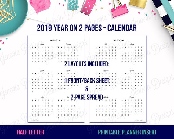 Usi Calendar.Items Similar To Half Letter 2019 Year On 2 Pages Yo2p Calendar