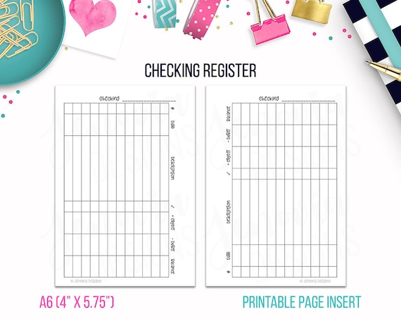 a6 checking register budget binder printable page insert etsy