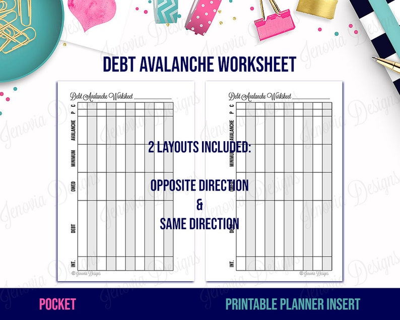 picture regarding Debt Worksheet Printable referred to as Pocket Financial debt Avalanche Worksheet Printable Price range Add Refill Web site for Pocket sizing Disc or Ring Sure Planners Prompt Down load