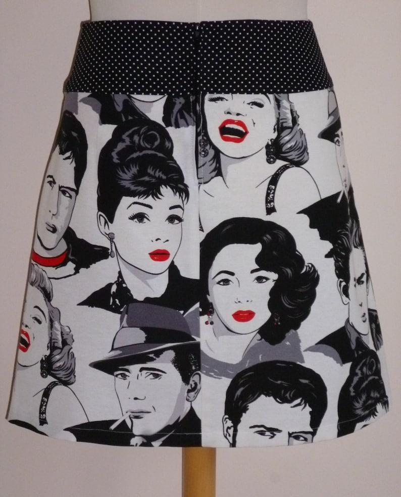 dots size EU 3840 print American movie stars skirt cotton Elvis Presley A-line skirt zipper Marilyn Monroe USA 810 - UK 1012