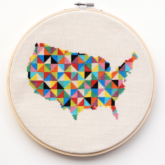 Modern Us Map.Continental Modern Cross Stitch Kitlarge United States Map Etsy