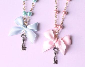 Sweet Lolita, Fairy Kei, Blue And Pink, Key Pendant, Necklace, Pastel Goth, Creepy Cute, Kawaii, Japanese Fashion, Harajuku