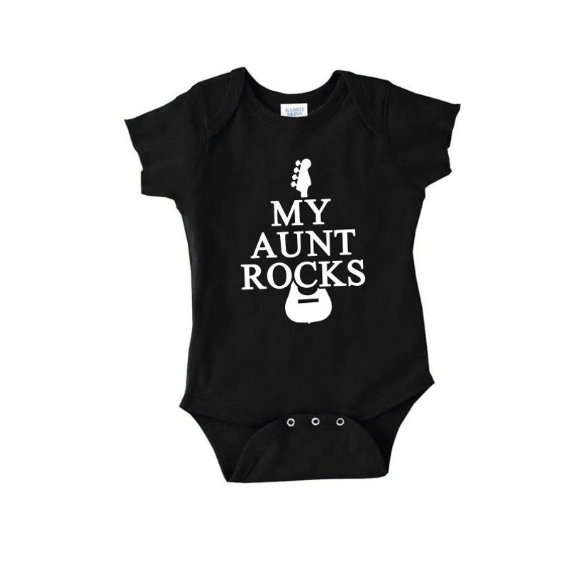 6312cd45f My Aunt Rocks cute funny baby onepiece new aunt uncle guitar | Etsy