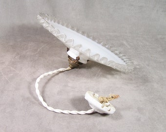 White opaline ceiling light with milk glass lampshade brass claw and white china ceiling rose vintage 1930 Made in France