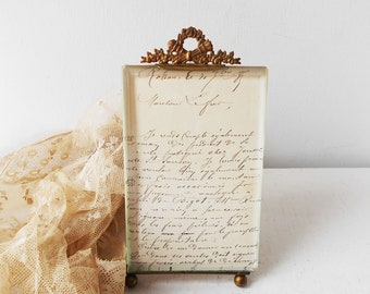 Photo Frame Antique French Bevelled Glass Brass Ribbon Bow