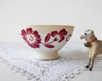 French Vintage Bowl White Ironstone Digoin Red Flowers Generous Size Tea Stained