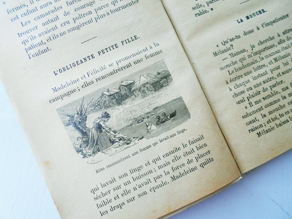 1898 French Fairy Tales Story Book Paris Historiettes Antique School Book