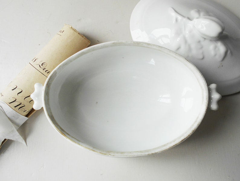 Antique French Tureen White Ironstone Oval Dish