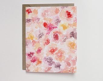 Watercolor Garden Roses A2 Greeting Card
