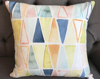 Triangles Watercolor Throw Pillow