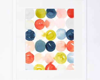 Polka Dots Pattern Watercolor Print