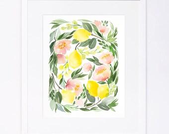 Lemon Floral Watercolor Cluster